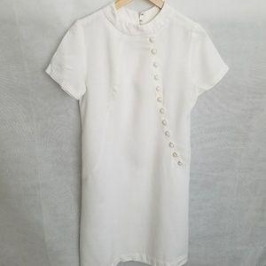 Women's 1960s White Linen, Asian Inspired, Dress